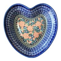 Boleslawiec Poland Polish Pottery Heart Shape Dish with Pink Roses