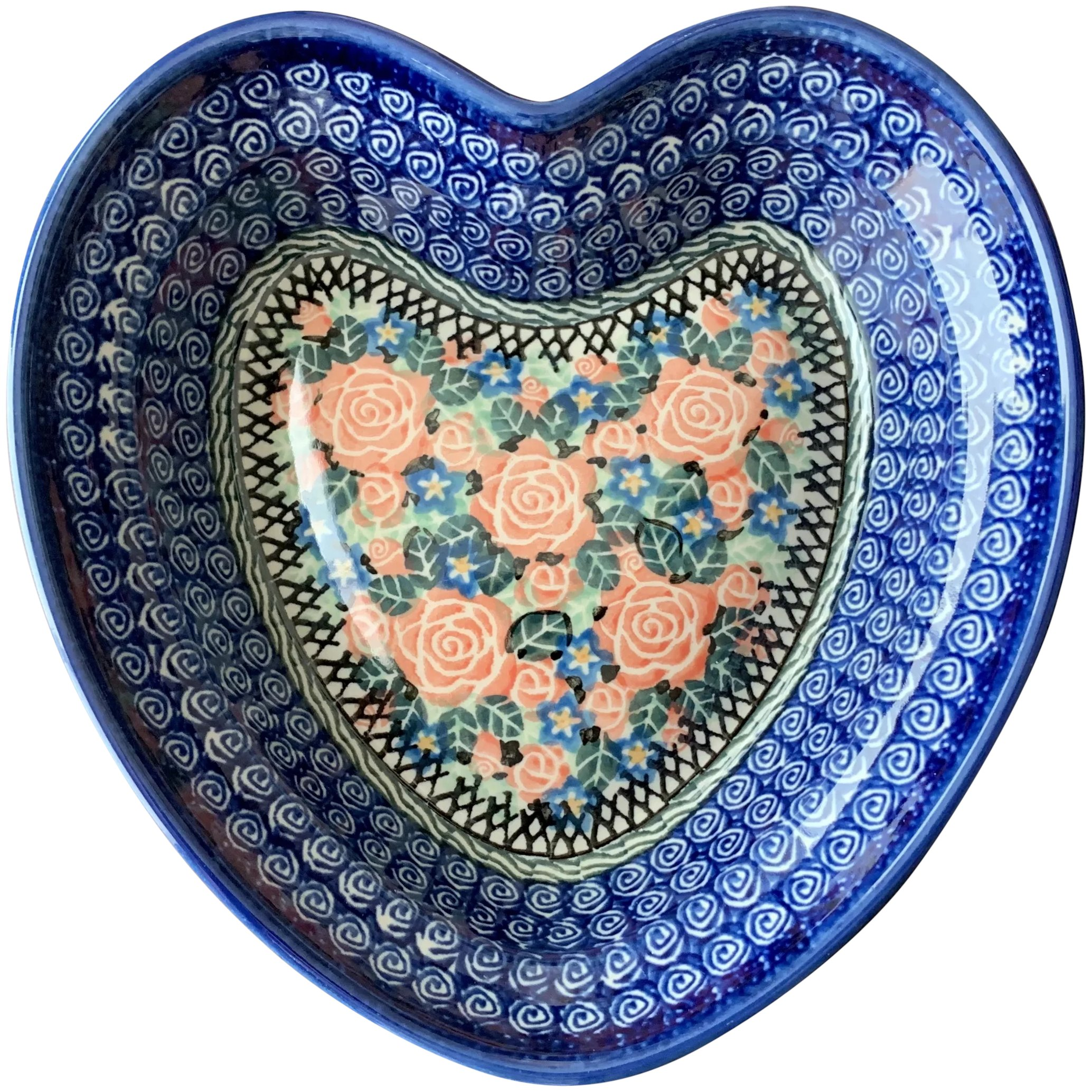 Boleslawiec Poland Polish Pottery Heart Shape Dish With Pink Roses Annie S Avenue Antiques Ruby Lane