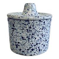Vintage Blue Speckled  Cheese Crock