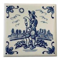 Vintage Pennsylvania Dutch Blue Tile Trivet