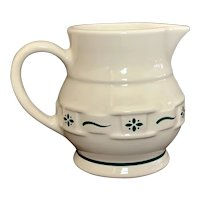 Longaberger Pottery Woven Traditions Green Creamer