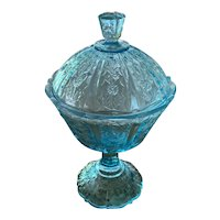 Vintage Fenton Paneled Daisy Blue Opalescent Covered Candy Dish