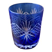Vintage Czech Cut to Clear Blue Crystal Tumbler