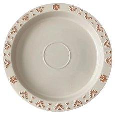 Frankoma Pottery Native American Design White Chip & Dip Platter Underplate only