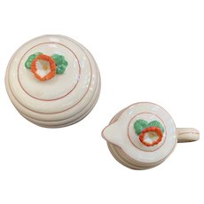 Moriyama 1930's Cream & Sugar Set with Beehive Shape and Floral Design