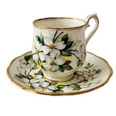 Royal Albert White Dogwood Demitasse Cup & Saucer Set