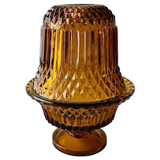 Indiana Glass Amber Diamond Point Fairy Lamp