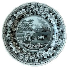 Spode Archive Collection Black Milk Maid Dinner Plate