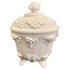Jeannette Pink Milk Glass Covered Candy Dish Pattern 3525
