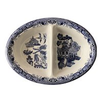 """Churchill Blue Willow 10"""" Oval Divided Vegetable Bowl"""