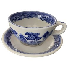 Buffalo Pottery Blue Willow Cup and Saucer Set
