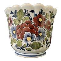 Delft Blue Floral Multi-Color Cache Pot
