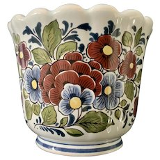 Delft Blue Floral Multi-Color Cache Pot
