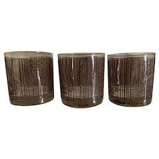 Georges Briard Brown Icicle Old Fashioned Glass Set