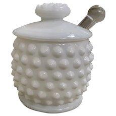 Vintage Fenton Hobnail Milk Glass Mustard Pot