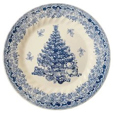 Queen's China Seasons Greetings Blue Dinner Plate