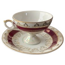 Lefton Demitasse Pedestal Cup and Saucer Set Pattern 6762