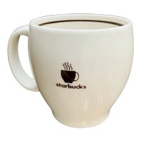 Starbucks Barista Abbey Mug Steaming Coffee White with Brown