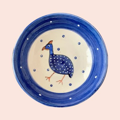 South Africa Pottery Bowl with Cape Spurfowl by Annie Leslie