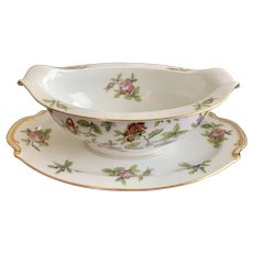 Aladdin China Occupied Japan Fantasia Pattern Gravy Boat with Underplate