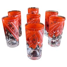 Western Red Bandana Drinking Glass Set