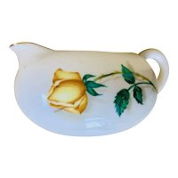 Canonsburg China Yellow Rose Temptation Pattern Creamer with Gold Trim