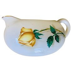 Canonsburg China Yellow Rose Temptation Pattern Creamer with Gold Trim