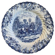 Vintage Johnson Brothers able Coaching Scenes Dinner Plate