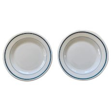 Anchor Hocking Anchorware Double Band Turquoise Plate Set of 2