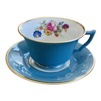 Syracuse (O.P.CO.) China Cup & Saucer Set Blue Band Floral Center Gold Trim Pattern SY4