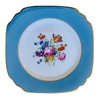 Syracuse (O.P.CO.) Salad Luncheon Plate Blue Band Floral Center Gold Trim Pattern SY4