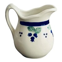 Hartstone Pottery Blueberry Creamer with Blue Band