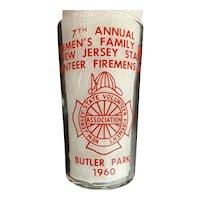 Vintage Firemen's Family Day Glass 1960 Butler Park