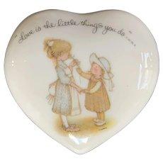 Vintage Holly Hobbie 1973 Heart Shaped Trinket Box Love Is