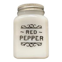Vintage Milk Glass Red Pepper Shaker