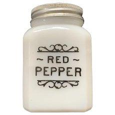 Vintage Milk Glass Red Pepper Shaker