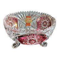 Anna Hutte Bleikristall Lead Crystal Ruby Flash Three Toed Christmas Candy Dish