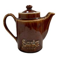 Hall China Sanka Individual Decaffeinated Brown Glaze Coffee Pot