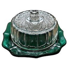 Vintage Anchor Hocking Fire King Emerald Green Clear Glass Cheese Butter Dish