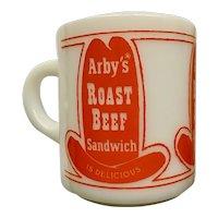Vintage Glasbake Arby's Milk Glass Orange Hat Logo Mug