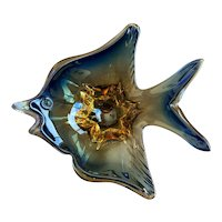 Murano Decorative Amber & Blue Angel Fish Bowl
