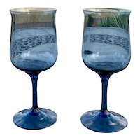 Lenox Blue Mist Pattern Water / Wine Glass Set
