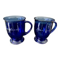 Anchor Hocking Cobalt Blue Starbucks Mug Set