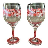 Valentine's Day X's & O's Wine Glass Set