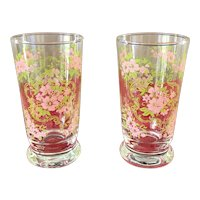 Vintage Early Libbey Apple Blossom Footed Glass Tumbler Set