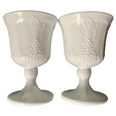 Indiana Colony Harvest Water Goblet Milk Glass Set of 2