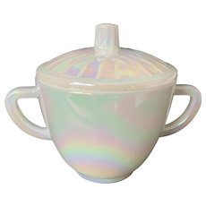 Federal Glass Moonglow Iridescent Sugar Bowl & Lid