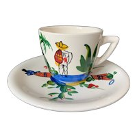 Lofisa Mexico Hand Painted Cup & Saucer 1957