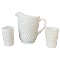 Anchor Hocking 65 oz Hobnail Milk Glass Pitcher with Five Matching Tumblers