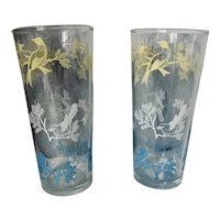 Vintage Perched Bird Highball Glass Set of Two